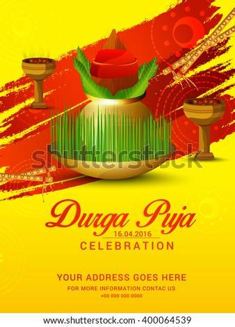 Vector illustration of navratri celebration or invitation card of durga puja celebration.