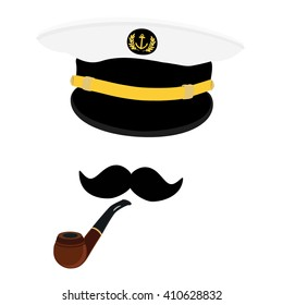 Vector illustration navy cap with golden anchor and laurel wreath. Navy captain hat with black mustache and smoking pipe