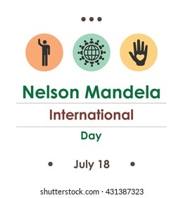 vector illustration / Nelson Mandela International day in August