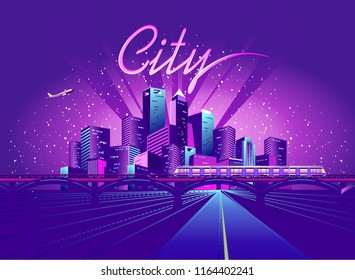 vector illustration neon colored city at night in electric lights road in depth