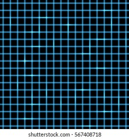 Vector illustration of neon grid, isolated on transparent background.