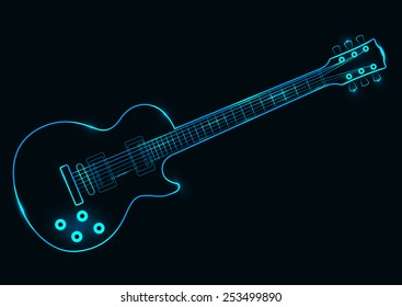 Vector illustration of a neon guitar