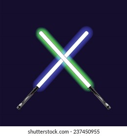 vector illustration  with neon sabers on sky background