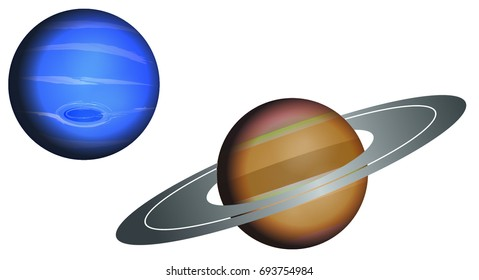 Vector illustration of Neptune and Saturn