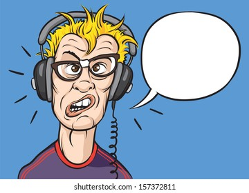 Vector illustration of nerd with headphones. Easy-edit layered vector EPS10 file scalable to any size without quality loss. High resolution raster JPG file is included.
