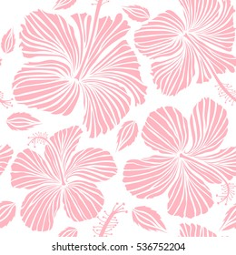 Vector illustration in neutral colors on a white background. Tropical flower, hibiscus pattern.