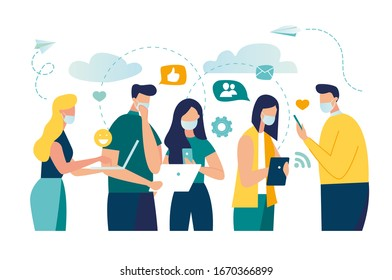 Vector illustration of New Coronavirus (2019-nKoV), people in white medical mask communicate through social networks online. ban on contact, Quarantine coronavirus concept  vector