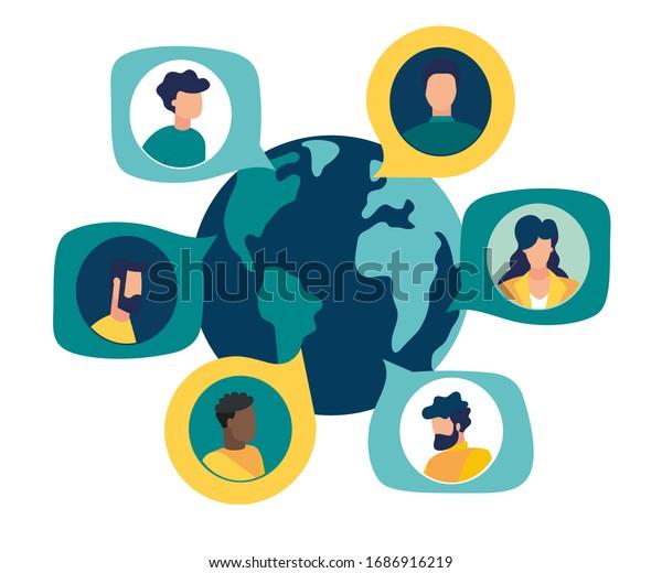Vector illustration of New Coronavirus (2019-nKoV), people in white medical mask communicate through social networks online. ban on contact, Quarantine coronavirus concept vector