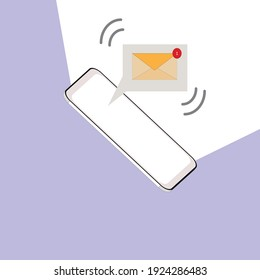 Vector illustration New Email ,massage,unread email on the 3d smartphone icon.Social network and mobile device concept.