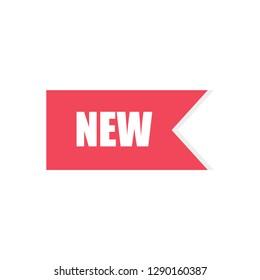 Vector illustration New flag badge. Banner red color. Decoration lable sign. Flat design. EPS 10.