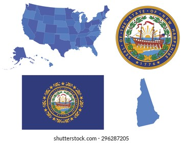 Vector Illustration of New Hampshire state, contains High detailed map of USA High detailed flag of state New Hampshire High detailed great seal of state New Hampshire State New Hampshire, shape