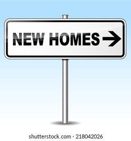 Vector illustration of new homes directional metal signpost concept