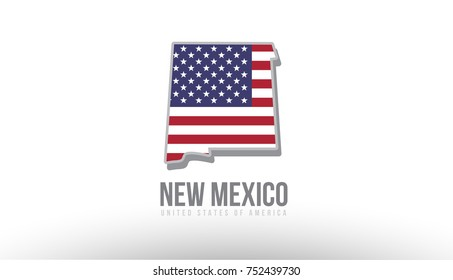 Vector illustration of new mexico county state with US united states flag as a texture suitable for a map logo or design purposes