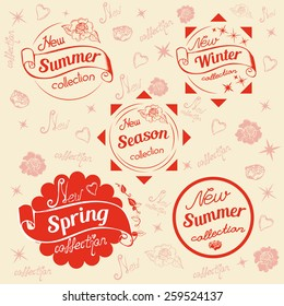 Vector illustration. New seasons labels and stamps. New winter, summer, spring collections.Vector background.