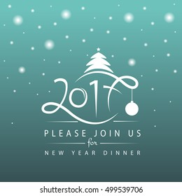 Vector illustration of New Year 2017 logotype. Winter holidays typography celebration design on textured background. Season greetings lettering template. Hand sketched icon, decoration badge