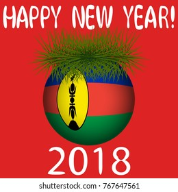 """Vector illustration for the New Year 2018 with hand-drawn text """"Happy New Year"""", Christmas tree decoration ball  painted in the colors of the flag of New Caledonia and a sprig of Christmas tree"""