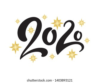 Vector illustration. New Year 2020 postcard template with numbers and shining stars isolated on white background.