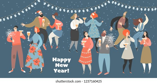 Vector illustration of a new year party with funny people dancing twist and drinking wine. New Year banner