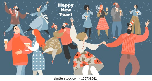 Vector illustration of a new year party with funny people dancing and drinking wine. New Year banner
