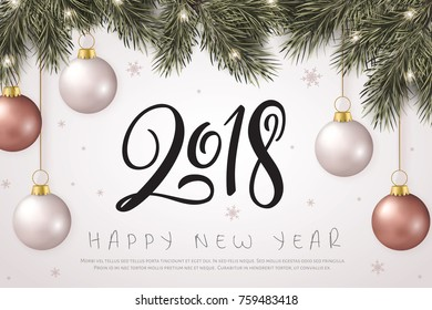 Vector illustration of new year party greetings card with hand lettering number - 2018 - with hanging on fir-tree branches christmas baubles, stars and snowflakes.