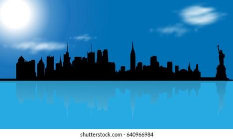 Vector illustration of New York on blue background.