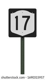 Vector illustration of the New York State Highway road sign on metallic post