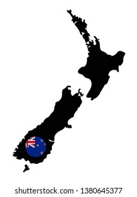 vector illustration of New Zealand map and flag