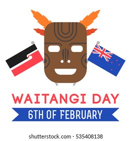 Vector illustration of New Zealand native inhabitant Maori's mask and British and New Zealand flags with lettering on white background. New Zealand Waitangi Day on the 6th of February.