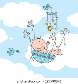 Vector illustration of newborn baby boy carried by birds.