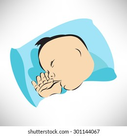 Vector illustration of Newborn baby sleeps on pillow with a finger in a mouth symbol, childbirth and parenthood concept