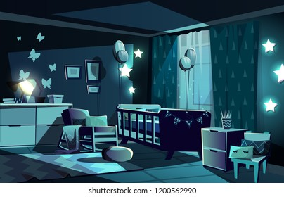 Vector illustration of newborn kid or nursery room at night in moonlight. Modern interior with bed, shining stars and furniture in Scandinavian style. Chair with pillow, carpet and butterflies on wall