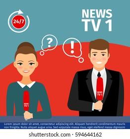 Vector illustration news anchor man and woman giving TV presentation