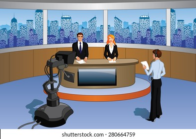 Vector illustration of a newsroom containing presenters, cameraman and a prompter/camera.