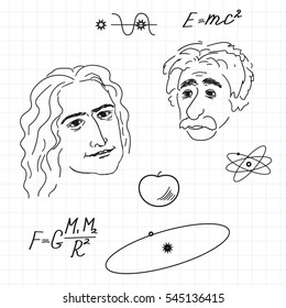 vector of illustration of Newton and Einstein discovery.Sketch