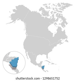 Vector illustration of Nicaragua in blue on the grey model of North America map with zooming replica of country