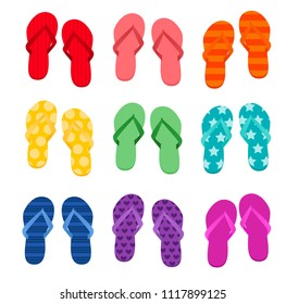Vector illustration of nice different pairs of colorful flip flops