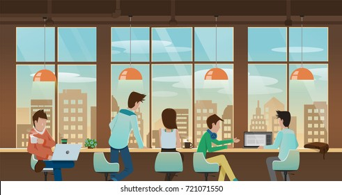 vector illustration of nice workplace, office, co working, cafe with people, business man meeting, working, taking together in front of window with cityscape view outside .