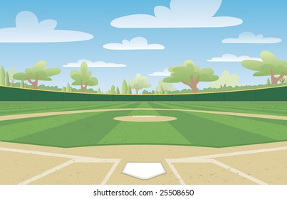 Vector illustration of a nicely groomed baseball field ready for the big game.