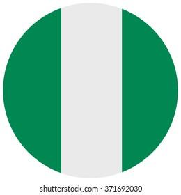 Vector illustration Nigeria flag vector icon. Round national flag of Nigeria. Nigeria flag button