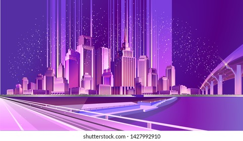 Vector illustration of a night area of the city, lit by neon lights crossing roads