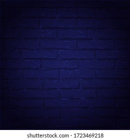 Vector illustration night blue brick wall. Grunge blank stonework facade texture. Industrial building close up element, empty space. Minimal design template, background, decoration, layout, backdrop