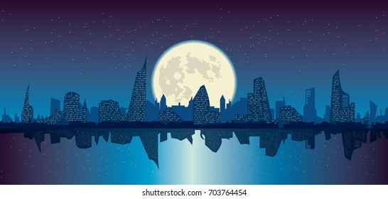 vector illustration of night city under starry sky and full moon cityscape and its reflection