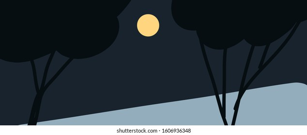 Vector illustration of night landscape. Moon and trees in the nighttime. Moonlight.