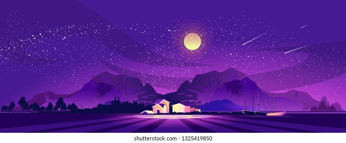 vector illustration, night landscape, small village, farm, in the mountainous area on the bank of the abstract sea, brightly shine the moon,