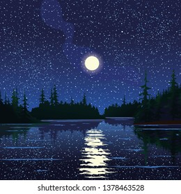 Vector illustration of night landscape with starry sky and full moon on a background of silhouettes of trees with reflection in the lake water for banner, website, printed materials, cards.