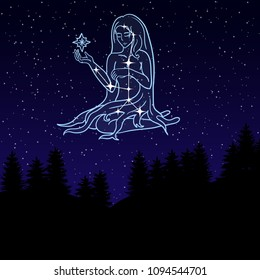 vector illustration of a night sky with the constellation of Virgo. Zodiac sign. Young woman or girl among the star. Night landscape with starry sky and silhouettes of spruce trees.