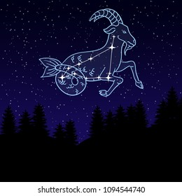 vector illustration of a night sky with the constellation of Capricorn. Zodiac sign. goat with fish tail among the star. Night landscape with starry sky and silhouettes of spruce trees.