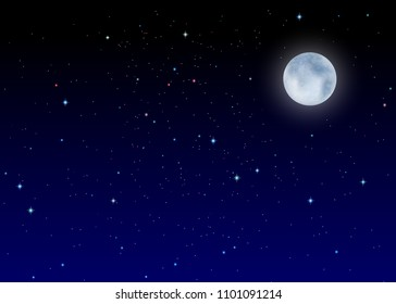 Vector illustration of the night sky. Evening twilight in the darkness, the bright moon, the beautiful sky and stars