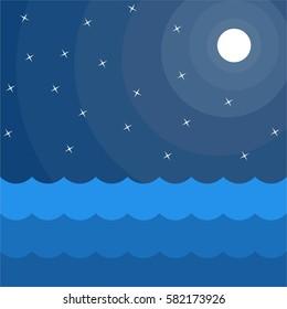 Vector illustration of night sky full of stars, moon, wave of sea