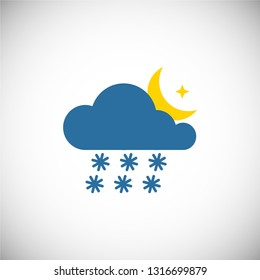 Vector illustration. Night snow  weather forecast icon is isolated on a white background. EPS10